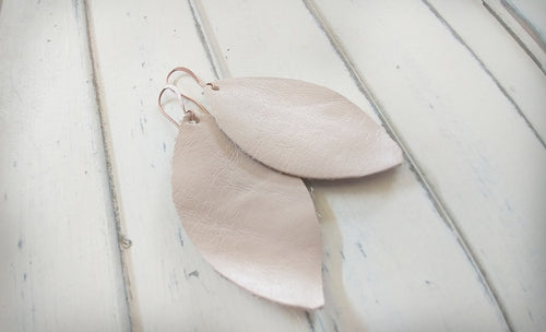 MyBella Marketplace Blush Pink Pearl Custom Hand Cut Leather Leaf Earrings