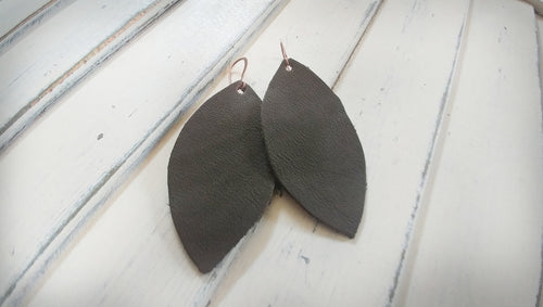 MyBella Marketplace Dark Olive Custom Hand Cut Leather Leaf Earrings