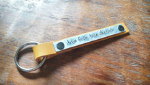 Drive Fast Take Chances Mustard Yellow Custom Hand Stamped Leather Key Chain Key Fob by MyBella