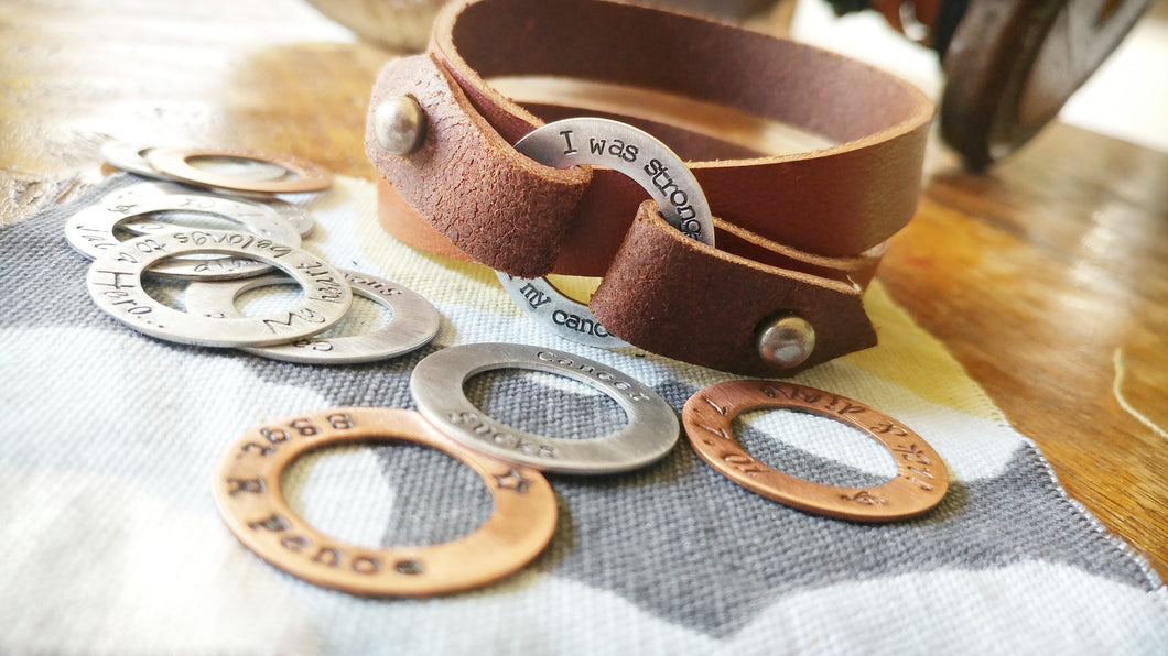 I Was Stronger Than My Cancer Custom Hand Stamped Aluminum Washer Accent Leather Survivor Cuff by MyBella