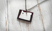 My Heart Is In Oregon Leather & Metal EO Essential Oil Diffuser Aluminum Hand Stamped and Oxblood Leather Pendant Necklace by MyBella