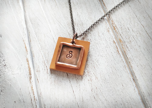 Custom Hand Stamped Solid Copper Metal & Mustard Yellow Initial EO Essential Oil Diffuser Pendant Necklace by MyBella