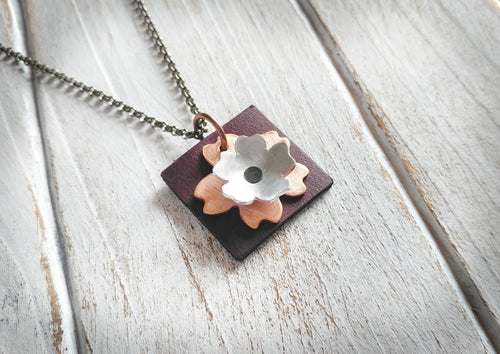 Mixed Metal & Leather EO Essential Oil Copper & Aluminum Hibiscus Flower and Oxblood Leather Diffuser Pendant Necklace by MyBella