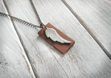 Leather & Metal EO Hammered Aluminum Angel Wing Essential Oil Diffuser Pendant by MyBella
