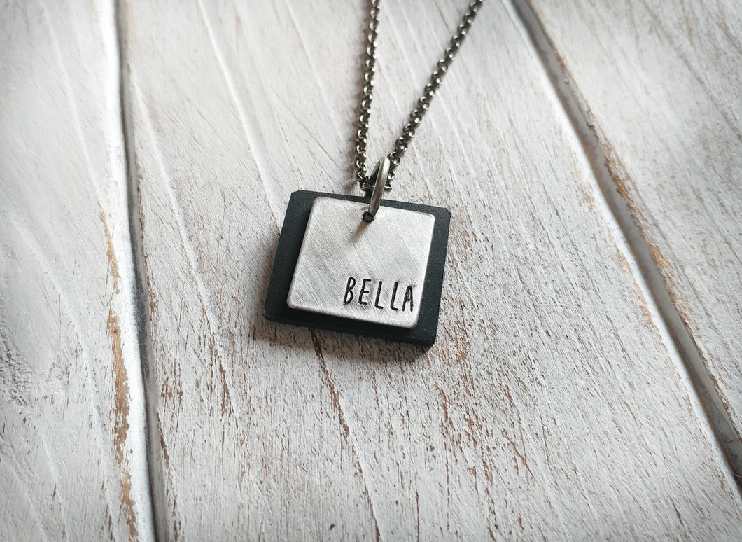 Metal & Leather EO Essential Oil Diffuser Aluminum Hand Stamped Tag and Slate Black Leather Pendant Necklace by MyBella