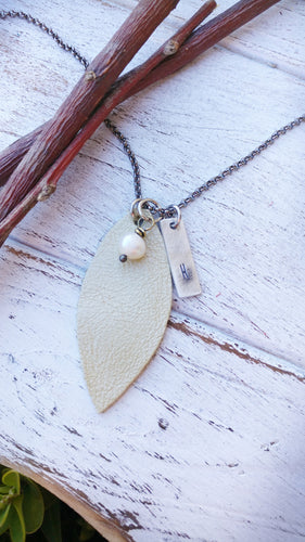 Lime Green Pearl Essential Oil Diffuser Leather Leaf Necklace Custom Hand Cut Lightweight Leather by MyBella