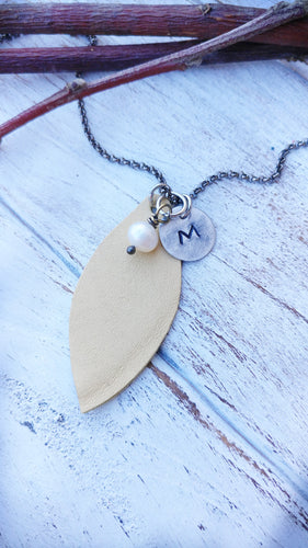 Buttercream Yellow Essential Oil Diffuser Leather Leaf Necklace Custom Hand Cut Lightweight Leather by MyBella