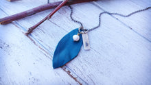 Essential Oil Diffuser Turquoise Leaf Necklace Custom Hand Cut Lightweight Leather by MyBella
