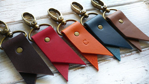 Leather Pennant Key Chain with Brass Swivel Clip and Optional Custom Hand Stamped Initial by MyBella