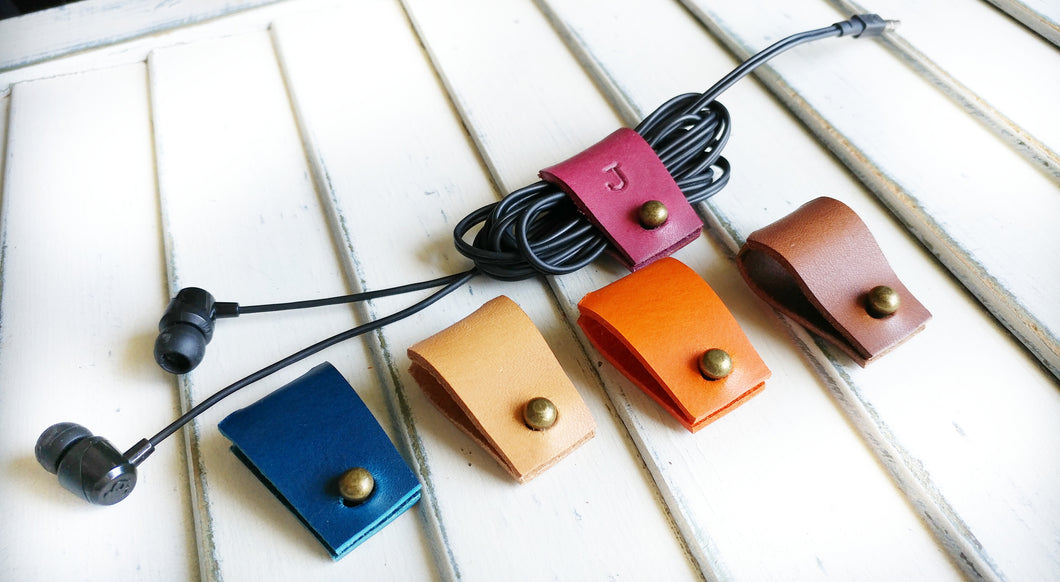 Custom Hand Cut Leather Ear Bud Holder with Optional Hand Stamped Initial Electronics Accessory by MyBella