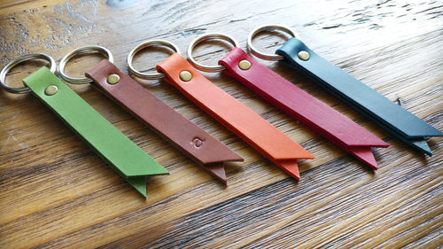 Leather Banner Key Chain with Optional Custom Hand Stamped Initial by MyBella