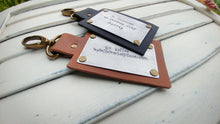 Custom Hand Stamped Standard Leather Luggage Tag Available In 10 Colors Slate, Brown, Tan, Camel, Red, Blue, Orange, Pink by MyBella