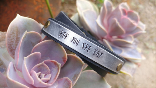 Mature F-Word Custom Hand Stamped Eff You See Kay Continuous Double Wrap Cuff Bracelet by MyBella