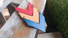 Leather Chevron Pendant Necklace Custom Hand Cut Leathers with Antique Brass Long Chain Triple Layer Drop by MyBella