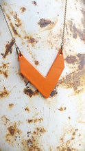 Leather Chevron Pendant Necklace Custom Hand Cut Leathers with Antique Brass Long Chain Single Layer Drop by MyBella