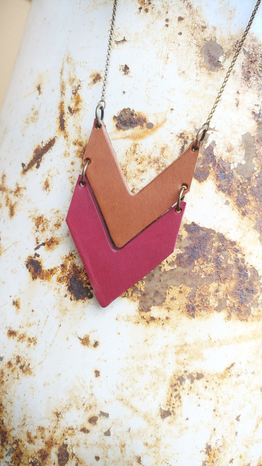 Leather Chevron Pendant Necklace Custom Hand Cut Leathers with Antique Brass Long Chain Double Layer Drop by MyBella