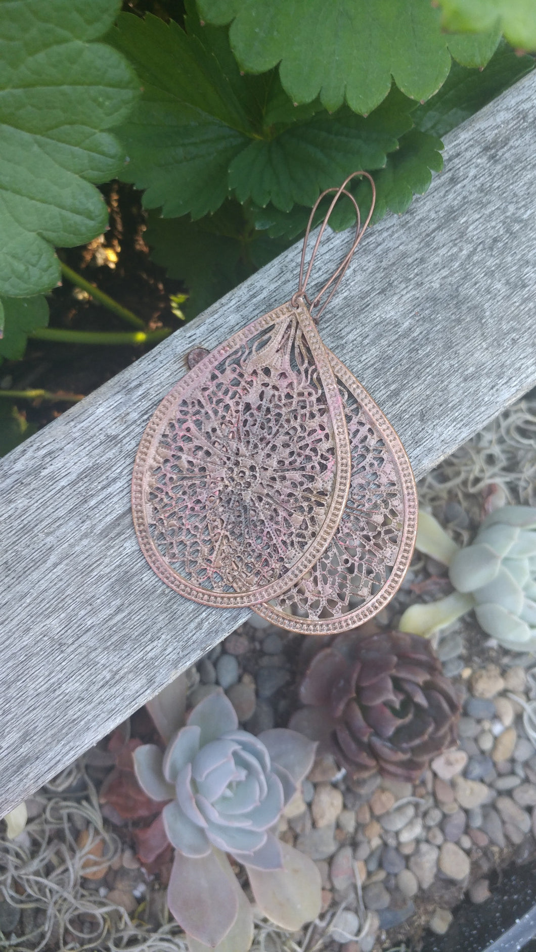 Oregon Raindrop Bronze With Peach Patina Lightweight Filigree Earrings by MyBella