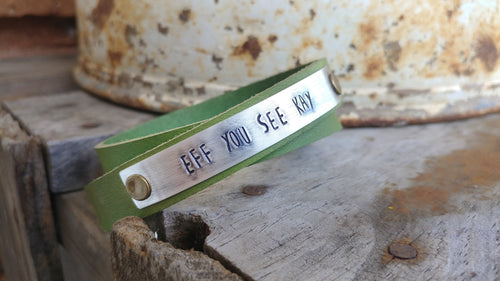 Green Apple Leather Mature F-Word Custom Hand Stamped Eff You See Kay Continuous Double Wrap Cuff Bracelet by MyBella