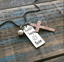 Faith Hope & Love Custom Hand Stamped Aluminum Pendant Necklace with Hand Hammered Copper Cross & Freshwater Pearl by MyBella