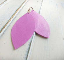 Lilac Purple MyBella Marketplace Custom Hand Cut Leather Leaf Earrings