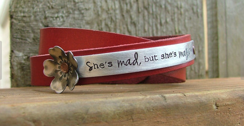 She's Mad But She's Magic Custom Hand Stamped Double Wrap Cherry Blossom Leather Cuff by MyBella