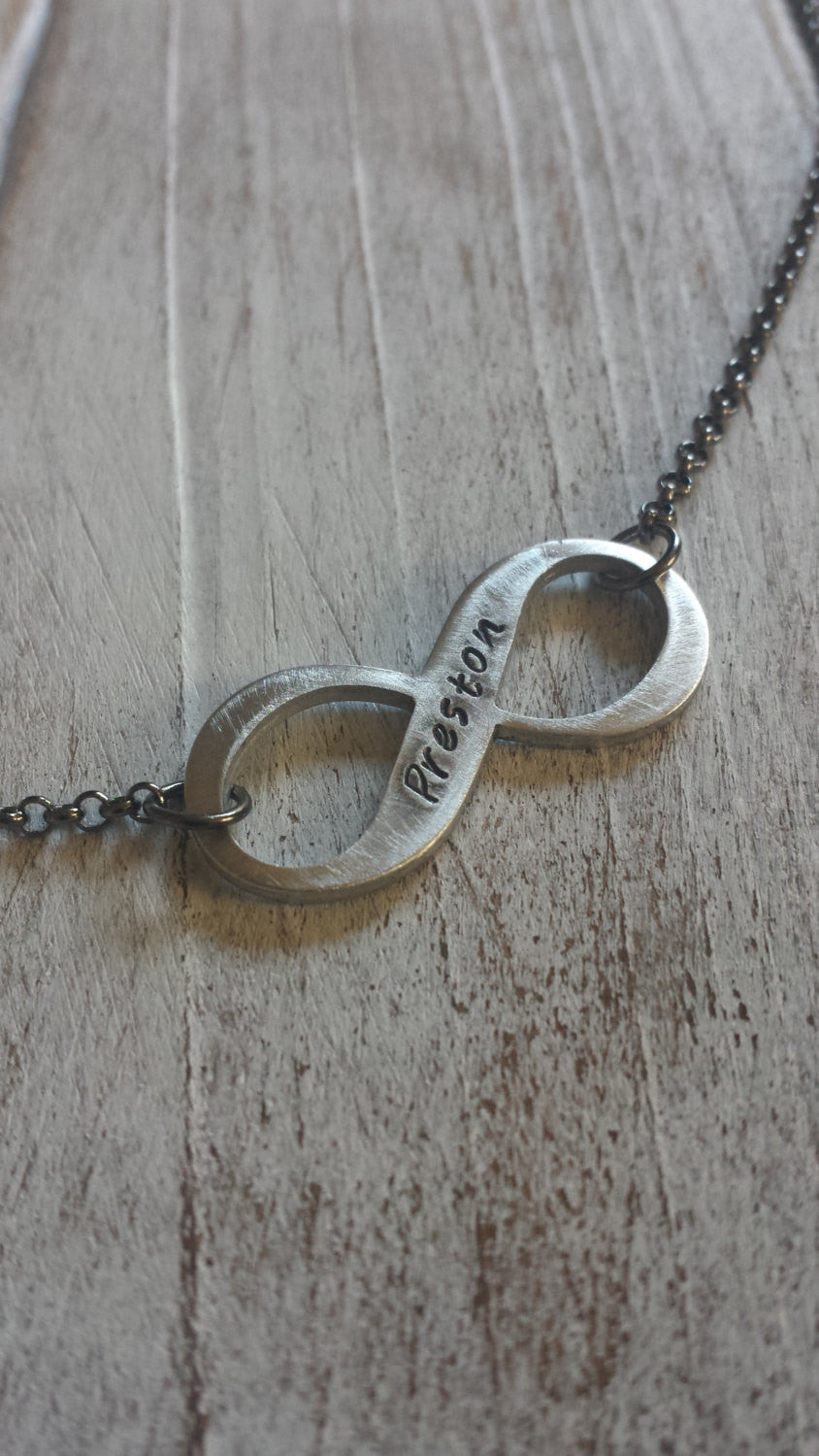My Infinity Forever Remember Those Lost to Cancer Custom Hand Stamped Aluminum Suspended Pendant by MyBella