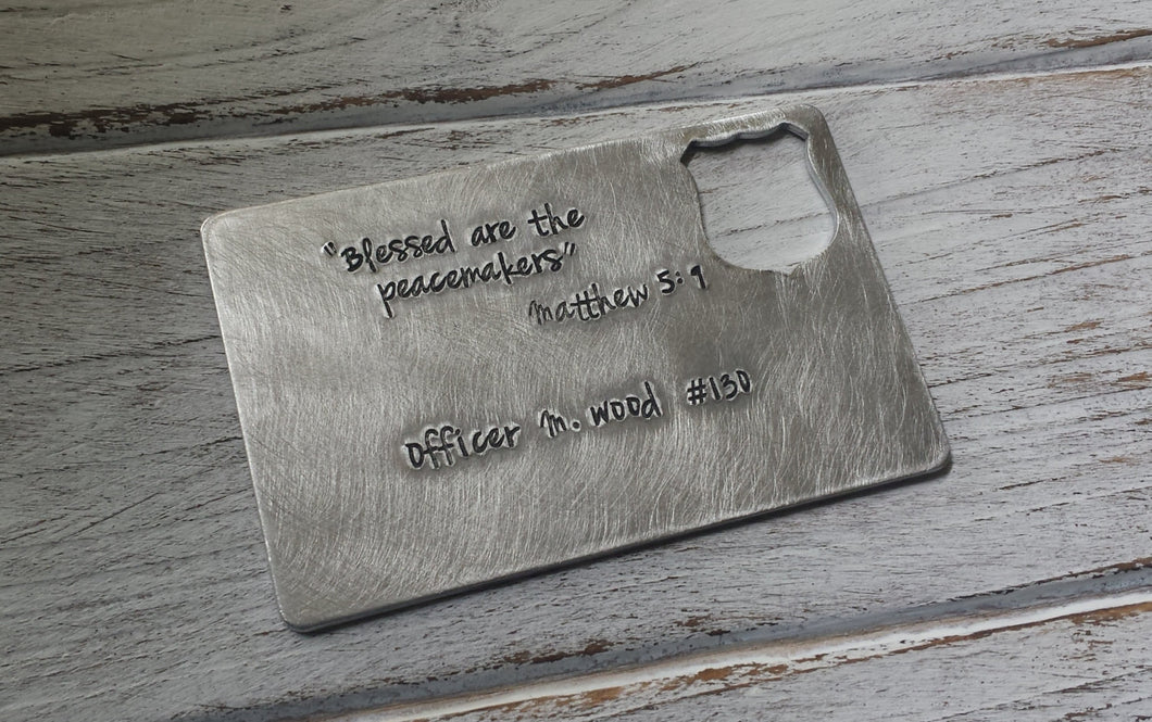 Blessed Are The Peacemakers Custom Hand Stamped Police Officers Aluminum Memorial Wallet Card by MyBella