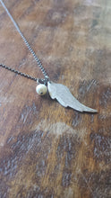 Resilient Wing Custom Hand Stamped Hammered Aluminum Wing Pendant Necklace with Optional Custom Stamped Name Tag by MyBella