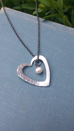 The Strongest Heart Custom Hand Hammered Heart Washer Pendant Keepsake Necklace by MyBella