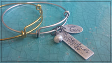 Congratulations Graduate Class of 2016 Custom Hand Stamped Flex Adjust Float Cuff with Freshwater Pearl by MyBella