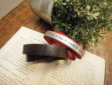 Limited Edition: Live Laugh Love Dream Hope Heavy Leather Cuff Bracelet with Custom Hand Stamped Metal by MyBella