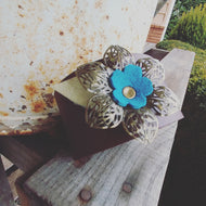 One Of A Kind 2 Inch Hand Cut Leather Statement Cuff With Oversized Brass Filigree Flower And Leather Center OOAK Cuff by MyBella