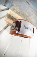 Hustle Custom Hand Stamped 1 1/2 inch Tall Custom Leather Cuff with Embossed Leather Accents by MyBella