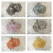 Spring Filigree Blush Pink Rose Lightweight Antique Brass Metal Drop Earrings With Deep Patina and 6 Color Choices by MyBella