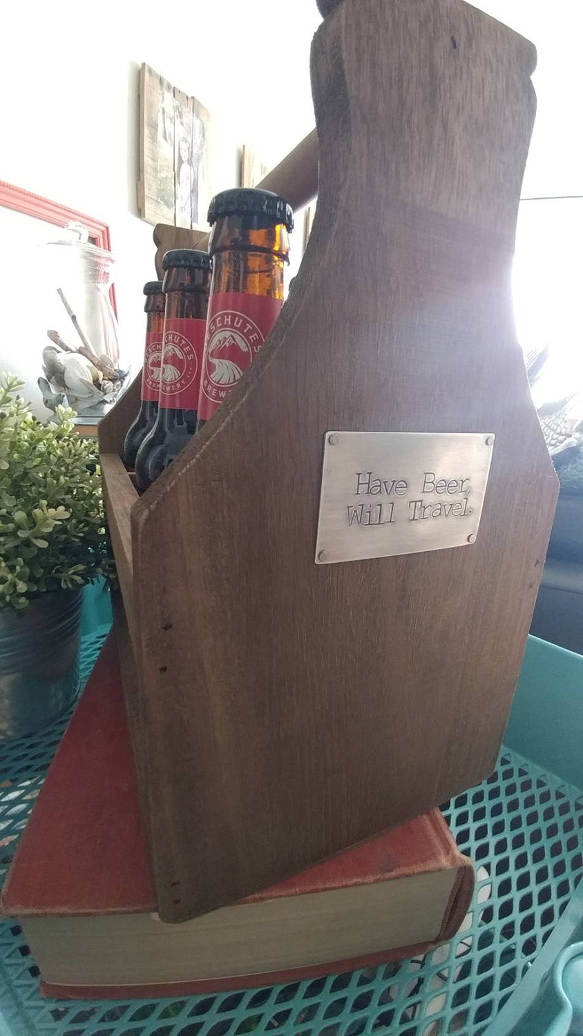 Hand Stamped Rustic Wood Beer Caddy Holds Six Pack of Bottled Beer with Bottle Opener Make It Yours With Custom Metal Tag by MyBella