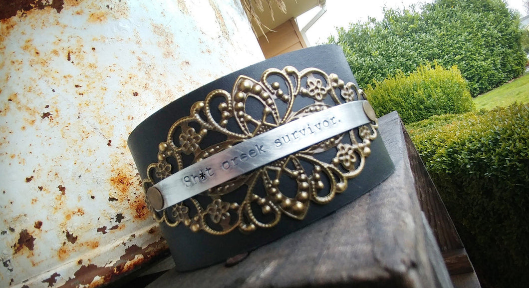 Sh*t Creek Survivor Mature Warning Custom Hand Stamped Leather Cuff Bracelet with Antique Brass Filigree Accent by MyBella