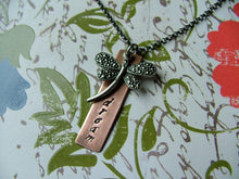 On The Wings Of A Dream Custom Hand Stamped Copper And Dragonfly Necklace by MyBella