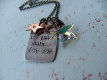 I Thank My Lucky Stars For You Custom Hand Stamped Tag with Wire Wrapped Swarovski Crystal Star Charm by MyBella