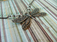 In Flight Antique Silver and Swarovski Crystal Dragonfly Pendant Necklace by MyBella