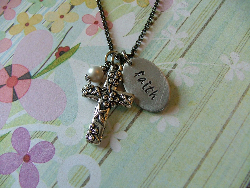 True Faith Custom Hand Stamped Daisy Cross and Glass Pearl Necklace by MyBella