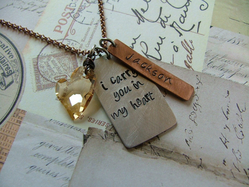 I Carry Your Heart Custom Hand Stamped Mixed Metals with Golden Swarovski Crystal Heart Necklace by MyBella