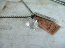 Apart in distance, but never in heart Custom Hand Stamped Memory Necklace wtih Swarovski Crystal Heart by MyBella