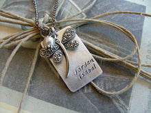 What's In A Name Custom Hand Stamped Simple Necklace wtih Dragonfly and Glass Pearl by MyBella