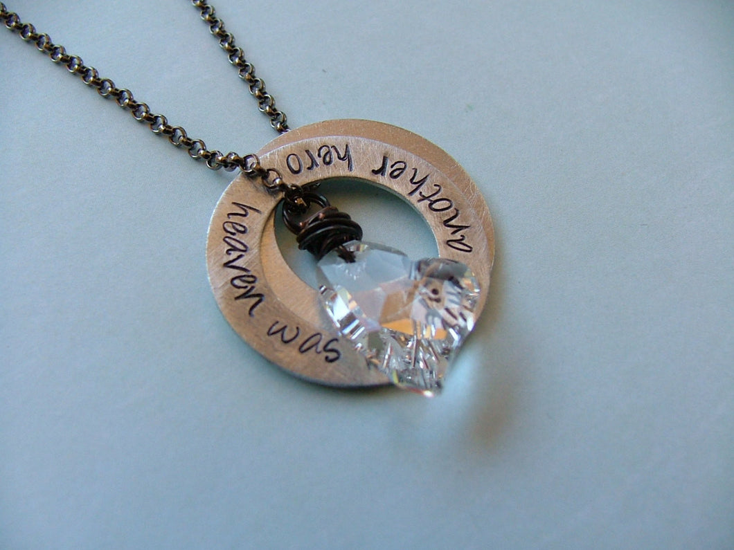 Heaven Was Needing Another Hero Custom Hand Stamped Fallen Soldier Fallen Officer Washer Necklace with Swarovksi Heart by MyBella