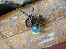 Initially Yours Custom Hand Stamped Antique Brass Dragonfly and Stamped Initial with Blue Chalcendoy Stone by MyBella