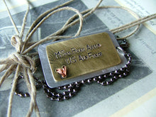 Love Him Like He Deploys Tomorrow Custom Hand Stamped Mixed Metals Aluminum Brass Copper Heart Dog Tag Necklace by MyBella