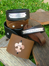 Leather 2 Inch Tall Cuff Bracelet with Custom Hand Stamped Metal  - love me when I deserve it least - by MyBella