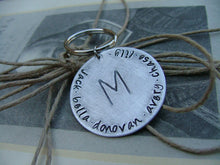 Simple Initial Family Custom Hand Stamped Wtih Family Names and Family Initial Keychain by MyBella