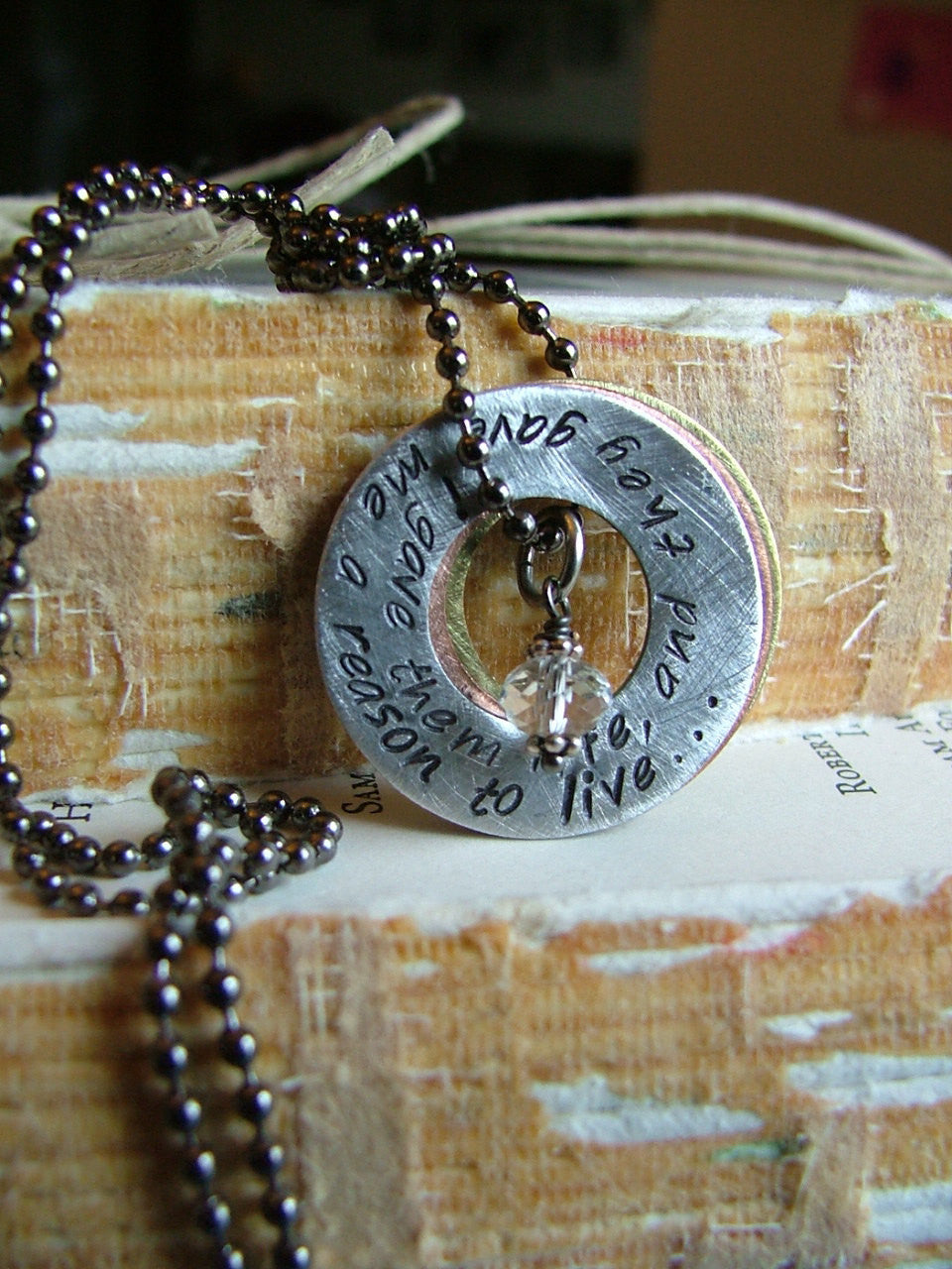 I Gave Them Life And They Gave Me A Reason To Live Custom Hand Stamped Mixed Metals Washer Necklace by MyBella