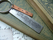 Every love story is beautiful, but ours is my favorite - Custom hand stamped Key Chain by MyBella